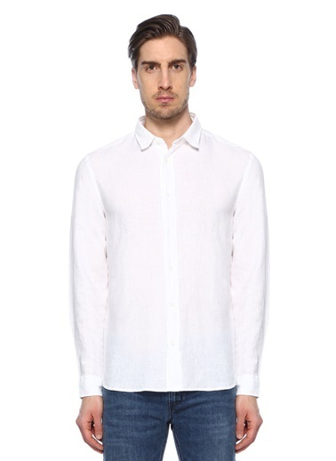 %100 Keten Uzun Kollu Gömlek-Hugo